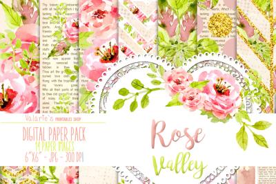 Digital Paper Rose Valley Flower Garden Gold Glitter Romantic Paper