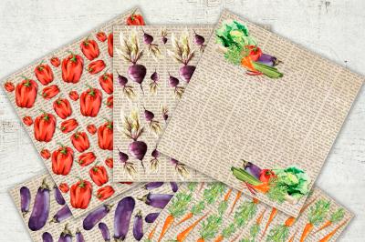 Digital Paper Vegetable Garden Watercolor Vegetables Healthy Food