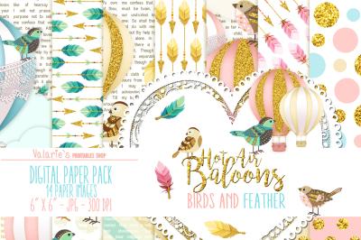 Digital Paper Hot Air Balloons Gold Glitter Bird Feathers Arrows Pink