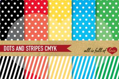 Multicolored Dots and stripes digital background patterns
