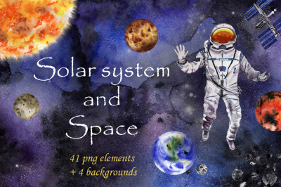 Solar System and Space watercolor set