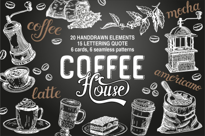 Coffee House - cliart & lettering