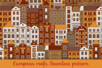 European roofs. Seamless pattern + Bonus