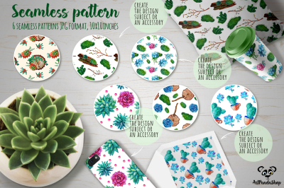 seamless pattern Watercolor succulent