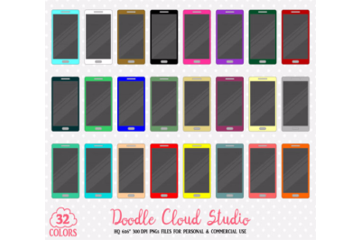 32 Colorful Smartphone Clipart Mobile cell phone Cute Rainbow stickers