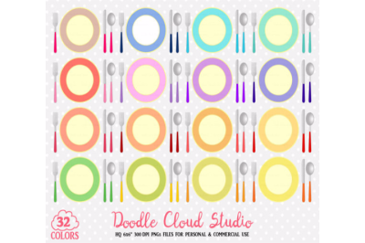 32 Colorful Plates Clipart Food stickers restaurant illustrations