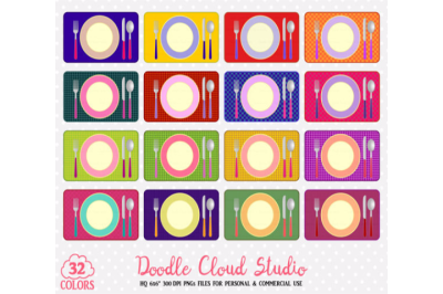 32 Colorful Plates Clipart Food stickers restaurant clipart