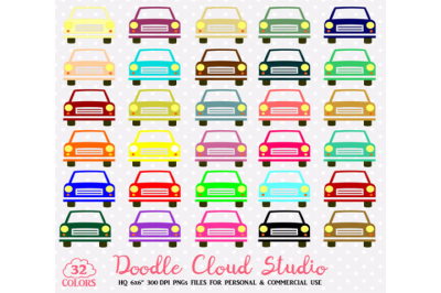 2 Colorful Cars Clipart Cute Rainbow vehicle Illustration Travel