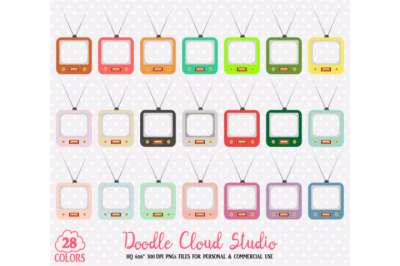28 Colorful Television Clipart Cute Retro Tv Planner Stickers Vintage