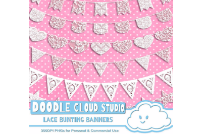 18 White Lace Burlap Bunting Banners Cliparts, multiple lace flags