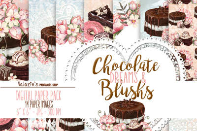 Digital Paper Chocolate and Peony Cake Donuts Confectioner's Sweet