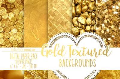 Digital Paper Gold Textured Paper Gold Glitter Foil Rich Gold