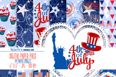 4th Of Jully Digital Paper USA Independence Day Fourth July Red Blue