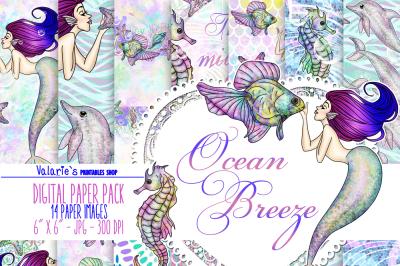 Ocean Mermaid Digital Paper Sea Star Horse Fish Coral Dolphin Mermaid