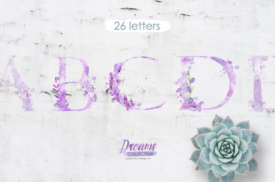 Watercolor alphabet - DREAMS