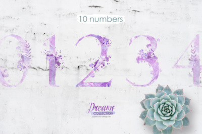 Watercolor numbers - DREAMS