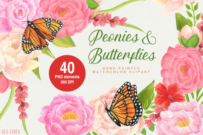 Peonies & Butterflies Watercolors
