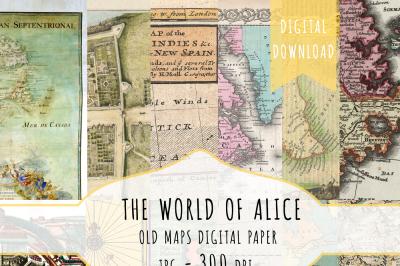 Vintage Maps Digital Papers, Antique European Maps, Maps Digital Paper