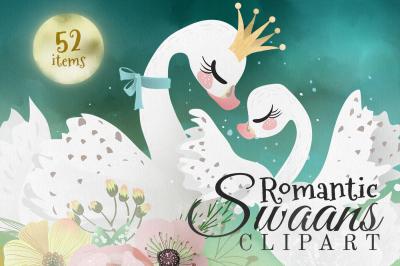 Romantic Swans Clipart