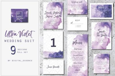 Ultra violet wedding suit invitation