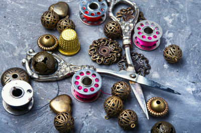 scissors, buttons for clothing