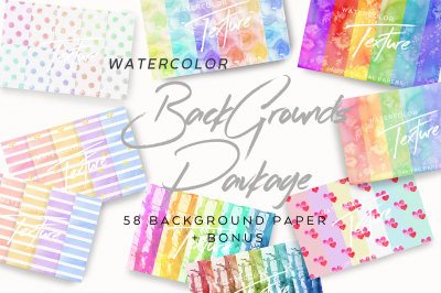 58 Watercolor Backgrounds Package