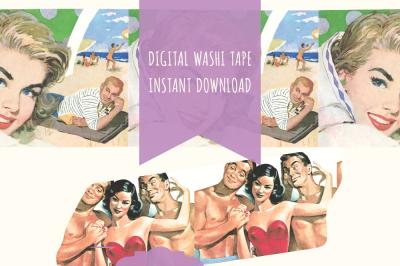 Retro Washi Tape Digital Download, Retro Washi Tape,Washi Tape Digital