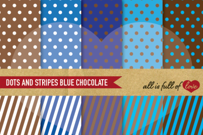 Dots and stripes digital background patterns in Brown and Blue