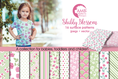 Shabby floral blossoms patterns, papers AMB-1272