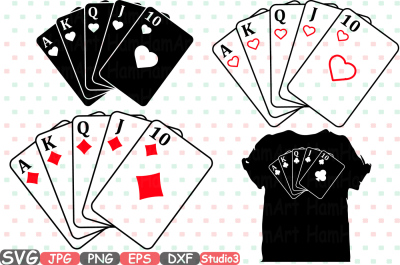 Download Poker Royal Flush Silhouette Svg Cutting Files Card Playing Cards 741s Free Download Freee Svg Designs