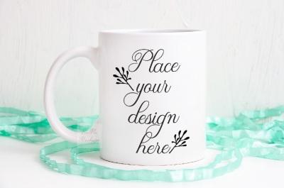 Coffee cup mockup, feminine mint mockups, mug mock up psd template