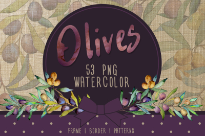 Olive tree PNG watercolor set
