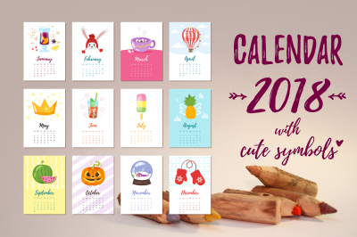2018 Calendar with cute symbols