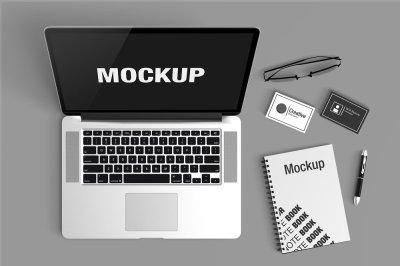 Macbook Scene PSD Mockup