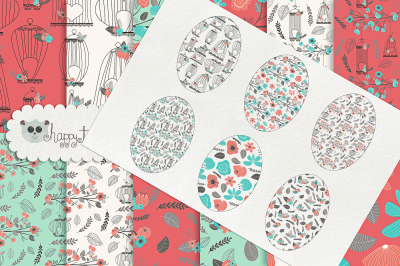 Romantic Bird Cages Seamless Pattern Designs & Digital Papers