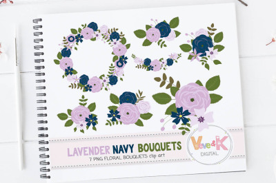 Lavender and Navy Floral Bouquets Clipart