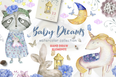 Baby Dreams. Watercolor animals