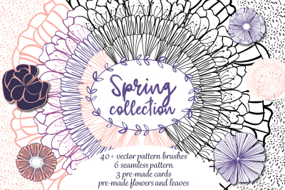 Spring collection - Floral vector pattern brushes - FLOWER & WREATH