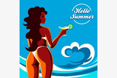 Hello Summer Holidays Emblem