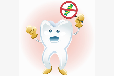 tooth protesting against candies