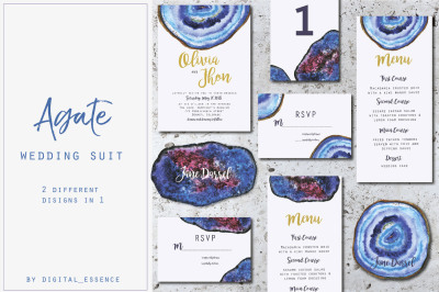 Agate wedding watercolor suit