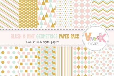 Blush and Mint Geometric Digital Paper Pack | Geometric Papers