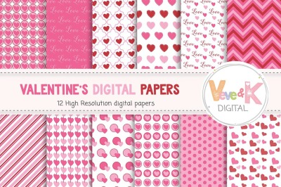 Valentine's Day Digital Papers | Heart Patterns