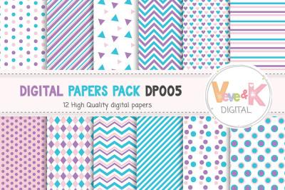 Purple and Teal Digital Paper Pack | Geometric Patterns