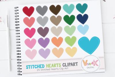 Multicolor Stitched Hearts Clipart Set | Rainbow Clipart Set