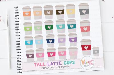 Multicolor Coffee Cups Clipart Set | Rainbow Coffee Mugs