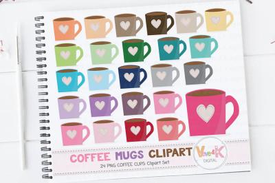 Multicolor Coffee Mugs Clipart Set | Rainbow Coffee Mugs