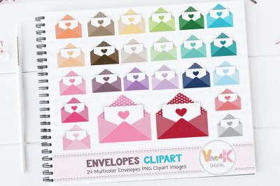 Multicolor Letter Envelopes Clipart Set | Rainbow Envelopes