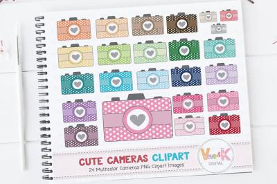 Multicolor Cameras Clipart Set | Rainbow Photography Clipart