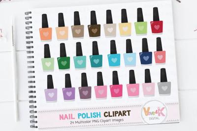 Multicolor Nail Polish Clipart Set | Planner Multicolor Clipart